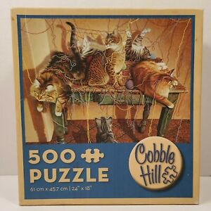 """Cobble Hill Cats 500 Piece Jigsaw Puzzle, """"Table Manners"""" New In Box 24"""" x 18"""""""