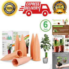 6 Pack Terracotta Plant Watering Stakes, Automatic Self-Watering Garden Spikes