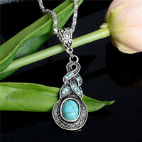 Vintage Women Bohemian Turquoise Long Pendant Sweater Chain Necklace Jewelry Hot