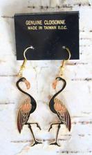 Elegant Black Cloisonne Enamel Flamingo Earrings 1970s Vintage