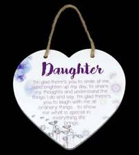 Daughter Hanging Plaque Gift Ceramic Wall Decor with Quote Purple Flowers