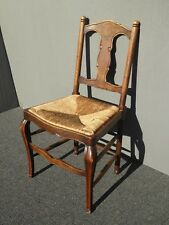 Vintage French Country Style Oak Wood Rush Seat Accent Chair