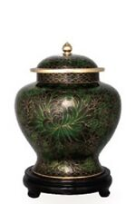Small/Keepsake Cloisonne 40 Cubic Inches Forest Green Funeral Cremation Urn