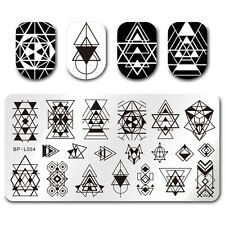 BORN PRETTY Nail Art Plaque de Satmping Rectangulaire Dessin Géométrique BP-L054