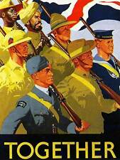 PROPAGANDA WAR WWII UK EMPIRE COMMONWEALTH SOLDIER SAILOR FLAG POSTER BB8237B