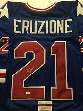 Autographed/Signed MIKE ERUZIONE USA 1980 Miracle Blue Hockey Jersey JSA COA