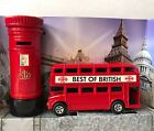 Diecast London Bus (Moving Wheels) & Post Box Set (Letter Box) Souvenir Gift