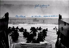 D-DAYJUNE 6,1944 OMAHA BEACH LANDING 4 D-DAY VETERANS RARE MULTI SIGNED PHOTO