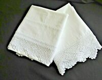 Vintage White Pillowcases with Crochet Guest Girls Room Linens Bridal Gifts