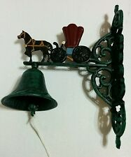 Vintage Hanging Cast Iron Horse & Carriage Bell