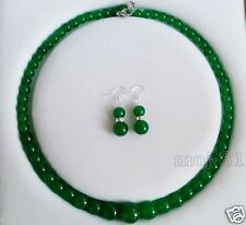 Natural 6-14mm Green Jade Round Gemstone Beads Necklace Earring Jewelry Set