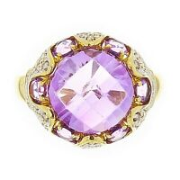 14k Yellow Gold 7.60ctw Amethyst & Diamond Dome Ring Size 8