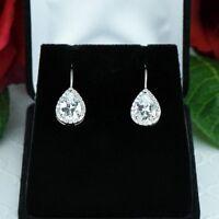 1ct Pear Cut Diamond Tear Drop Stud Hook Earrings Women 14k White Gold Finish