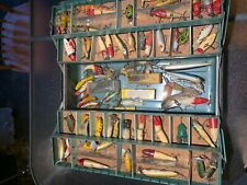 New listing Vintage tackle-box filled w/ Fishing Lures . Heddon etc. lots of wood.
