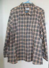 Liz Claiborne Villager Women's Button Front Plaid  Top Shirt Sz XL