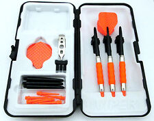 Orange Dimpled Standard Rubberized Sure Grip Soft Tip Dart Set + Case 16 gram -2