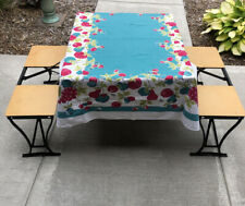 Vtg Yellow Handy Folding Picnic Table & Chair Set Milwaukee Stamping Co Camping