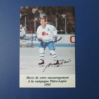 GUY LAFLEUR  Quebec Nordiques  1993  Patro-Lapin  postcard   Montreal Canadiens