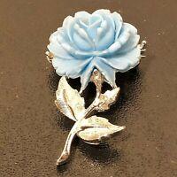 "Blue Flower Brooch Pin Silver Tone Plastic Metal 2"""