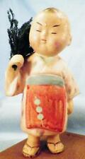 Vintage Japan Boy Doll in Kimono Haiku Ningyo Poem Ceramic Wood Base