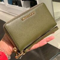 Michael Kors Medium Large Leather Credit Card id Wristlet Wallet Green Gold