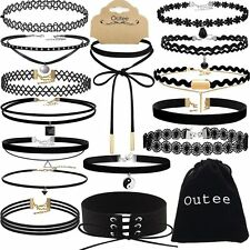 Chocker Sets, Outee 15 Pieces Black Velvet Choker Necklace Set Lace Choker for