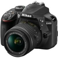 Nikon D3400 DSLR with 18-55mm f/3.5-5.6G AFP DX VR Lens, Black - Certified!