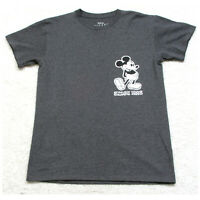 New Mickey Mouse Gray Cotton Poly Disney T-Shirt Mans Solid Short Sleeve Small