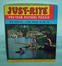 Vintage 60's Fairchild Just-Rite Pre-Teen Picture Puzzle Swimming Hole Complete