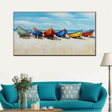 Handpainted Modern boat white blue seascape Oil painting on canvas no framed