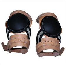 U-Hilason Western Horse Tack Leg Protection Leather Skid Boots Russet U-202R