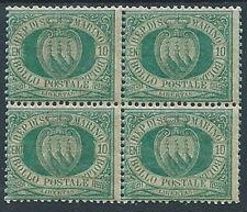 1892-94 SAN MARINO STEMMA 10 CENT QUARTINA MNH ** - VA9