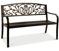 Patio Park Garden Bench Porch Path Chair Outdoor Lawn Garden Black 2 Seat Bronze