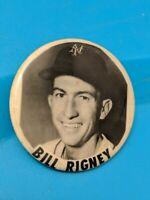 BILL RIGNEY VINTAGE NEW YORK GIANTS BASEBALL PIN BUTTON