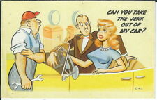 BB-033 Can You Take the Jerk out of Car, Woman w Big Boobs, 1940's-50's Postcard