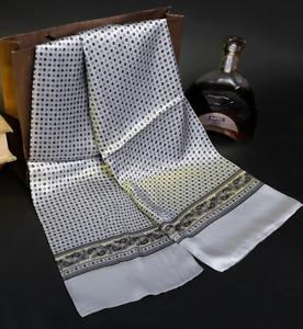100% Mulberry Silk Satin Scarf men women neckerchief Shawl Wrap gray MY128-28