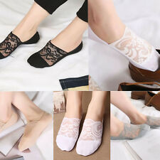 4 Pairs Women Ladies Skin Shoe Liners Footsies Invisible Thin Lace Socks Sheer
