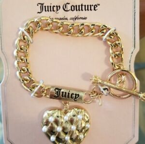 Juicy Couture Chain Link Puff Heart & Pearl Gold Tone Logo Bracelet NEW