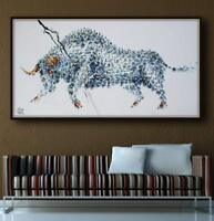 """Animal Bull Painting 67"""", Original & HandMade Oil on canvas, rich thick layers"""