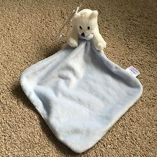 F&F Blanco Oso Polar Snuggle Manta Edredón Azul Peluche Lindo Nuevo