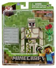 "Minecraft iron golem 3"" Articulated Action Figure with Block & flower BNIP"