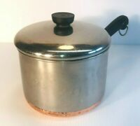 Vintage Revere Ware 1801 - 3 Quart Copper Clad Bottom Saucepan / Pot With Lid