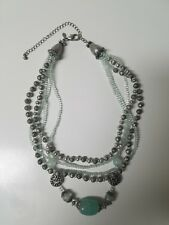 Premier designs jewelry necklace Multi Strand  aqua blue green silver beaded adj