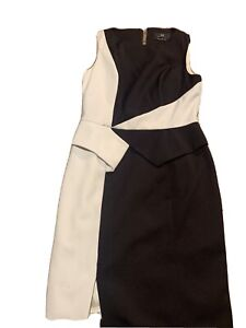 CUE Black And White Short Sleeve Bodycon Lined Corporate Business Dress Size 10