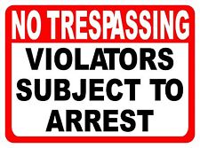 No Trespassing Violators Subject to Arrest Sign. Size Options. Trespass Arrested