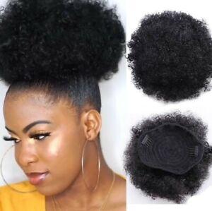 Drawstring Natural Afro Ponytail Kinky Real As Human Thick Bun Hair extension 1b