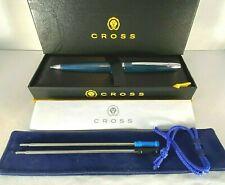 CROSS ATX CYANIC BLUE WITH CHROME TRIM BALLPOINT PEN 882-37