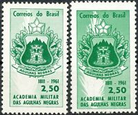 BRAZIL 1961 150th anniversary Military Academy 2.50 Cr. U/M VARIETY WRONG COLOR