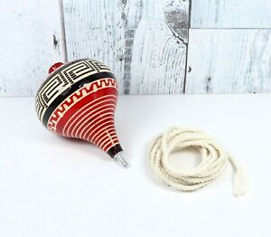 Decorated Wooden Spinning Top Toy / Trompo de Madera Decorado Made in Mexico BLK