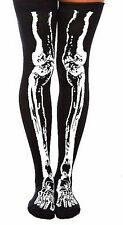 """1 Pair Officially HOT TOPIC Over The Knee Skeleton """"Glows in the Dark"""" Socks"""